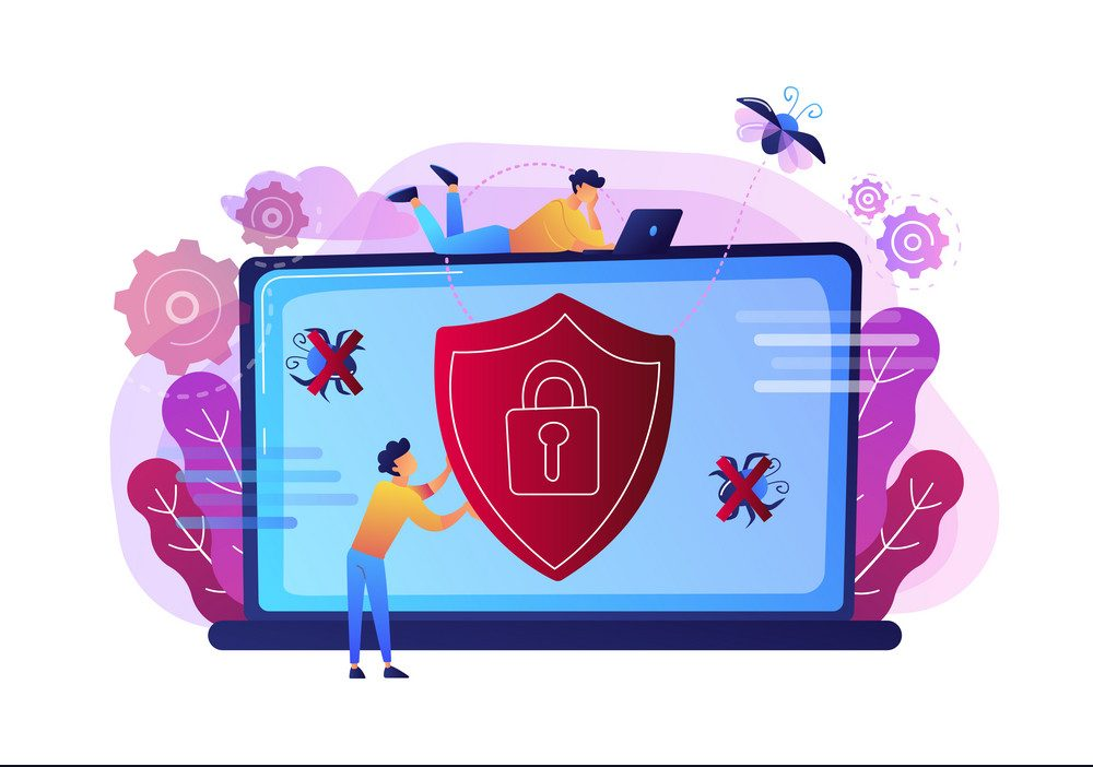 Antivirus software concept vector illustration.